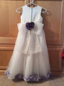 White with Purple Petals and Large Purple Rose Flower Girl Girls Bridesmaid/Mob Dress Size 00 (XXS)