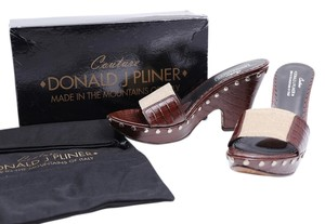 Donald J. Pliner Elastic Chunky Heel Leather Studs Brown Sandals