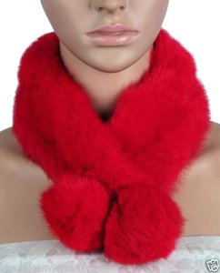 Genuine Fur Collar Scarf Red Free Shipping