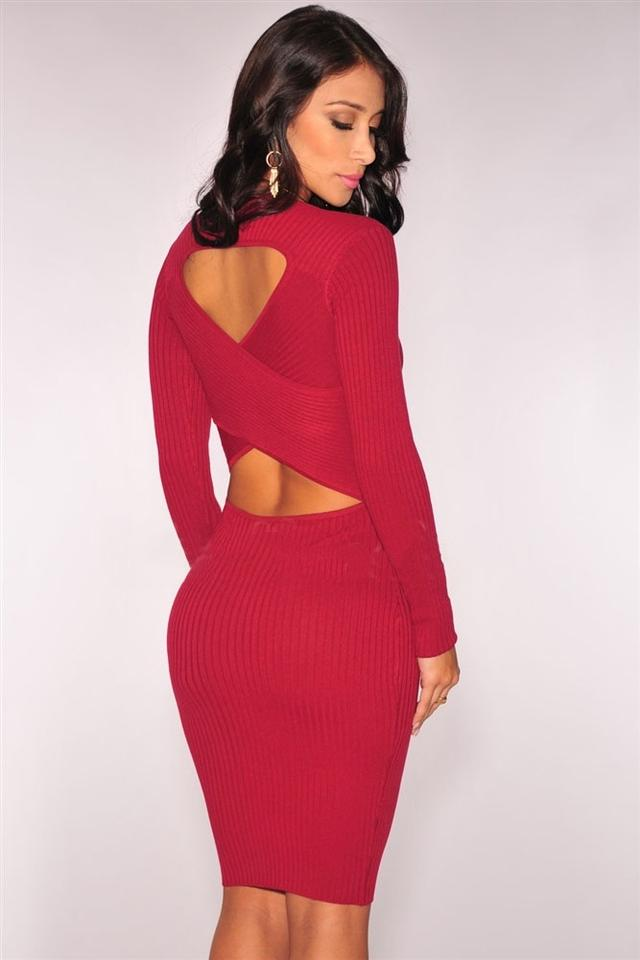 Hot Miami Styles Red Bodycon Knee Length Work/Office Dress Size 4 (S ...