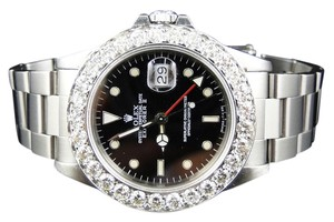Rolex Mens 40mm Stainless Steel Rolex Explorer Ii Black Dial Watch 6 Ct Diamond Bezel