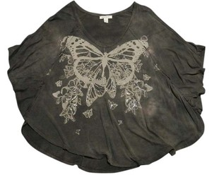 Boston Proper Butterfly Flutter Sleeve Tie Dye T Shirt Dark Grey