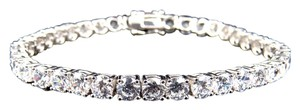 Other White Gold Finish Sterling Silver Simulated Diamond 1 Row Bracelet 4.8mm