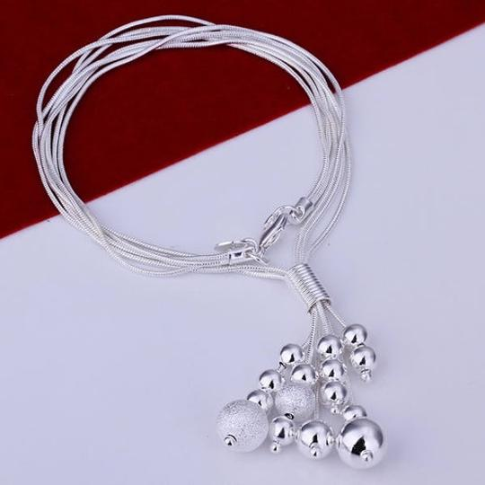 Other New 925 silver fashion jewelry Triple Line Bean Necklace Image 2
