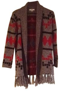 BB Dakota Jack Fringe Hem Cardigan Aztec Sweater