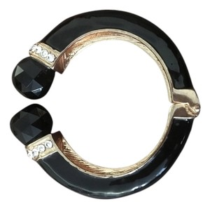 Other Black and gold opening cuff bracelet with stones