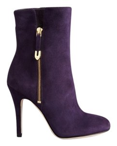 Joan & David Suede Bloomingdales Like New And Gold Zipper Round Toe Purple Boots