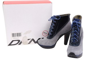 DKNY Heeled Hiker Hiker Patent Leather Suede Blue/Gray Boots