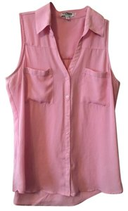 Express Sleeveless Collared Button Up Top pink