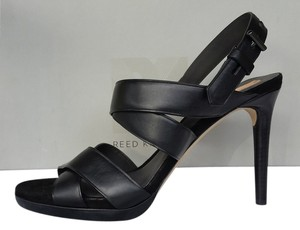 Reed Krakoff Leather Box Leather Strappy Platforms Heels Black Sandals
