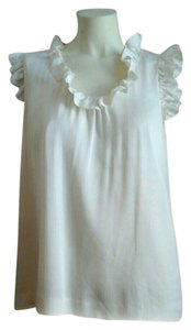 Kate Spade New York Saturday Silk Sleeveless Ruffles Top Ivory