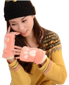 Pink Paw Fuzzy Fingerless Gloves Free Shipping