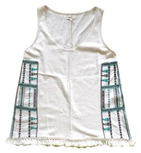 Madewell Fringe Summer Embroidered Top White And Turquiose