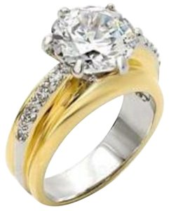Other New Size 9, 5 Carat Clear CZ Two Tone Wedding Ring Size