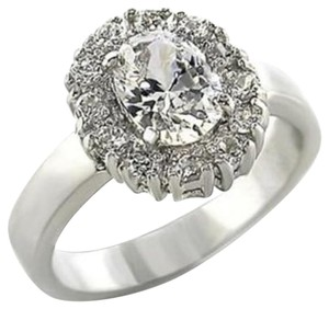 New Size 8, 2.1 CT. RHODIUM PLATED CUBIC ZIRCONIA RING