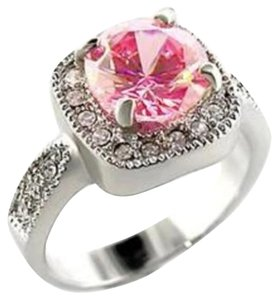 Other New Size 8, 4.7 CT Rhodium Plated Rose & Clear CZ Ring