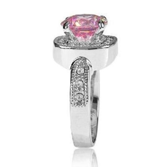 Other New Size 8, 4.7 CT Rhodium Plated Rose & Clear CZ Ring Image 1