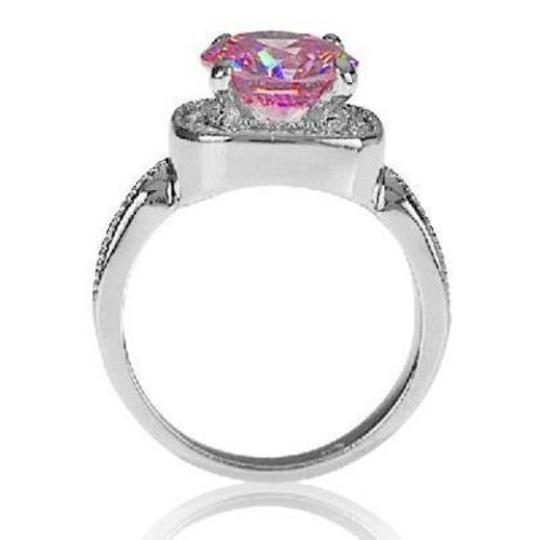Other New Size 8, 4.7 CT Rhodium Plated Rose & Clear CZ Ring Image 2