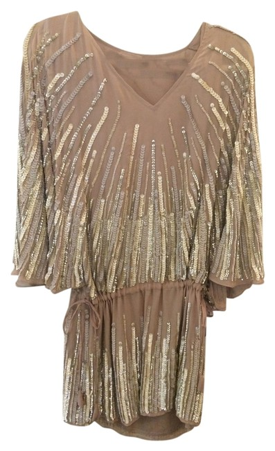 Item - Neutral Tan Gold Sequin Sequined Sequin Top Beaded Beaded Top Flapper Style Sequin Drop Waist Mini Cocktail Dress Size 0 (XS)