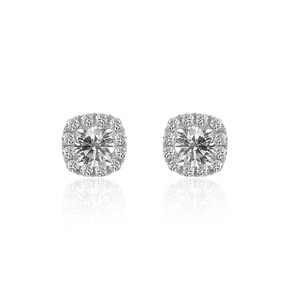0.80 Carat Halo Diamond Stud Earrings 14k White Gold