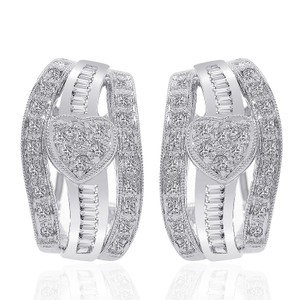 0.70 Carat Diamond Heart Cluster J-hoop Earrings 14k White Gold