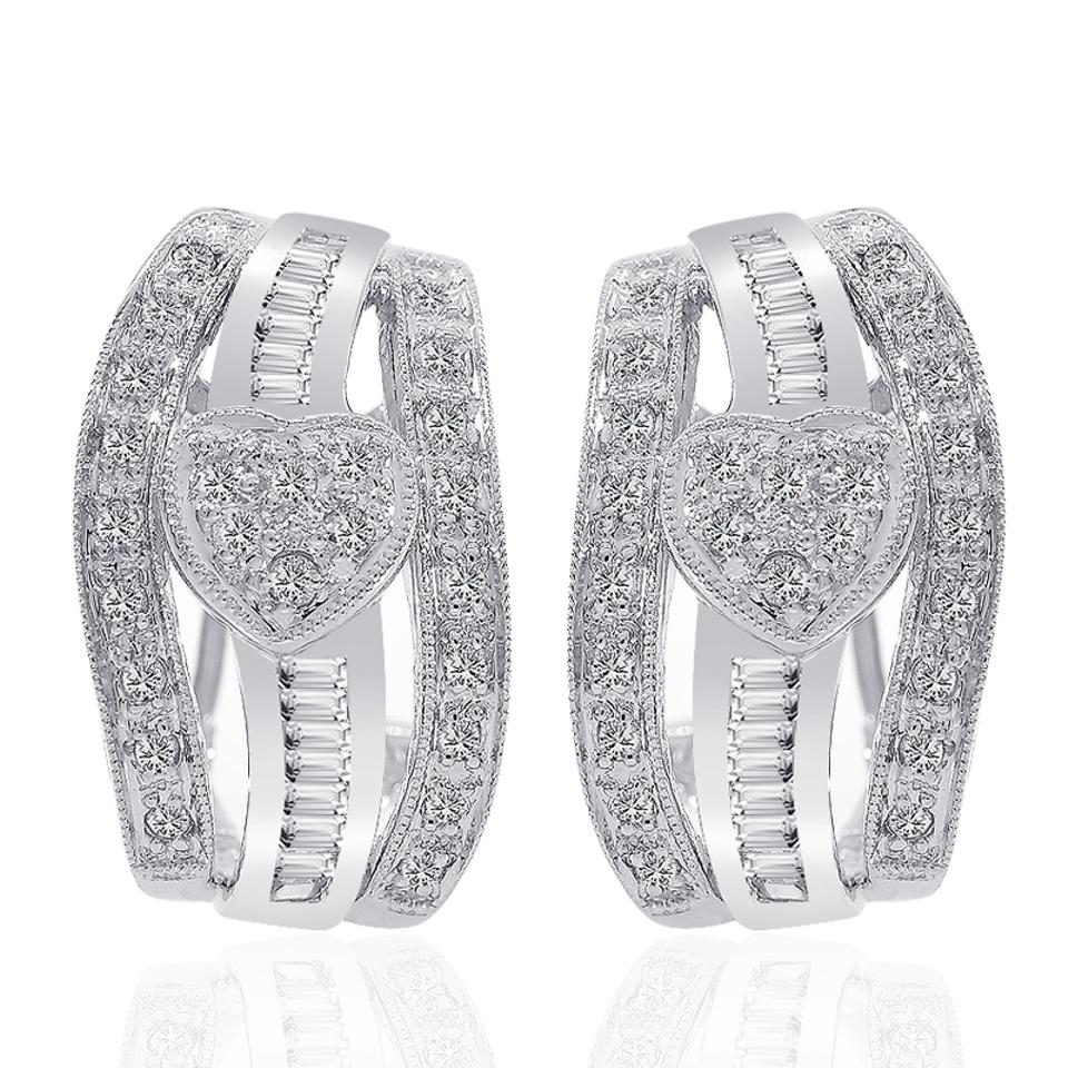 badecbc28e6 Avital   Co Jewelry 0.70 Carat Diamond Heart Cluster J-hoop Earrings 14k  White Gold ...