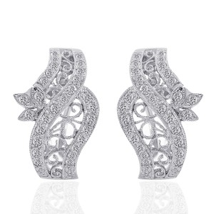 Avital & Co Jewelry 0.75 Carat Diamond Crossover J-hoop Filigree Rope Earrings 18k WG
