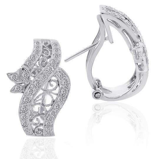Avital & Co Jewelry 0.75 Carat Diamond Crossover J-hoop Filigree Rope Earrings 18k WG Image 1