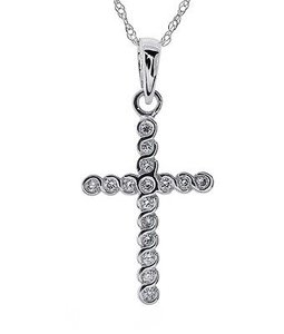 Other Ladies 14k White Gold Channel Set Diamond Cross Pendant Si-1g 18 Necklace