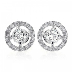Other 1.80 Carat Halo Pave Four Prong Diamond Earrings 18k Gold
