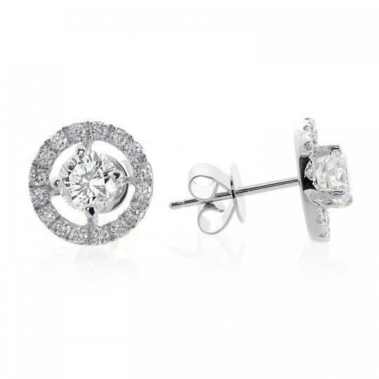 Avital & Co Jewelry 1.80 Carat Halo Pave Four Prong Diamond Earrings 18k White Gold Image 1