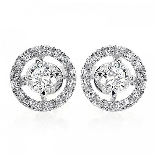 Avital & Co Jewelry 1.80 Carat Halo Pave Four Prong Diamond Earrings 18k White Gold Image 2