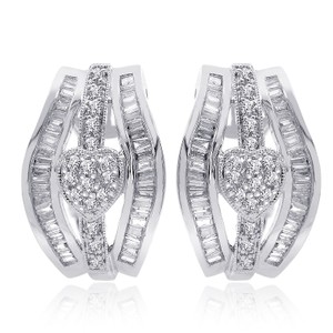 Avital & Co Jewelry 1.00 Carat Diamond Heart Cluster J-hoop Earrings 14k White Gold