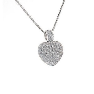 Avital & Co Jewelry Carat Round Cut Diamond Heart Pendant Necklace 14k White Gold