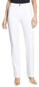St. John New Yellow Label Marie Stretch Pants White Size 2 Straight Leg Jeans