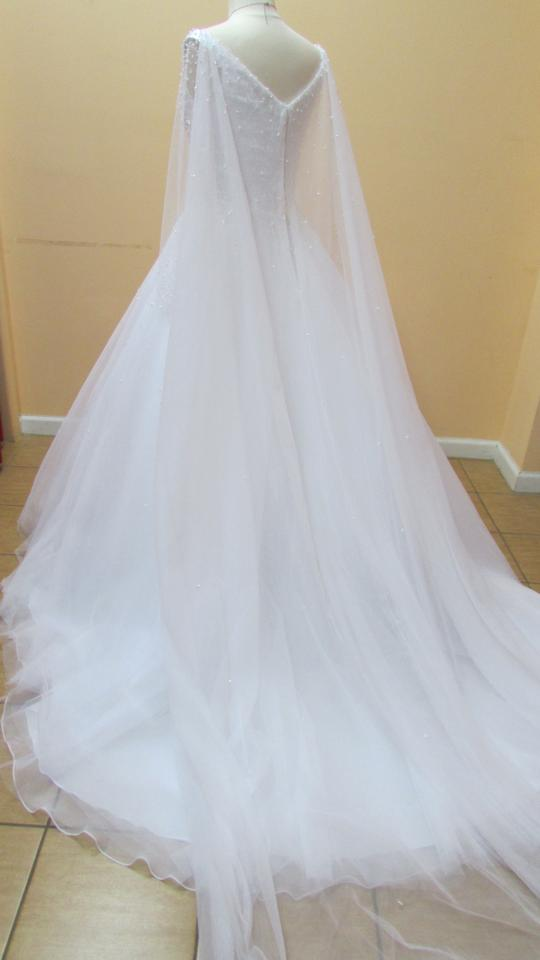 Alfred Angelo White/Silver Satin and Tulle 258 Modern Wedding Dress ...