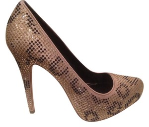 "Report Signature 5"" Fabric Withblack And Gold Sparkled Studs Leather Sole And Stiletto Heels Camel Platforms"