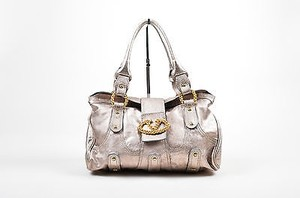 RED Valentino Metallic Gray Gold Tone Leather Hand Satchel in Silver