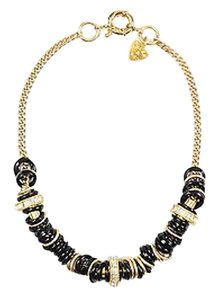 Giles & Brother Giles Brother Gold Tone Black Plastic Metal Rhinestone African Ring Necklace