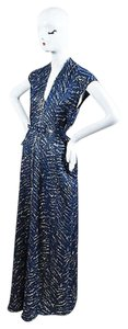 Blue Maxi Dress by Other Rm By Roland Mouret Metallic Belt Ss Maxi