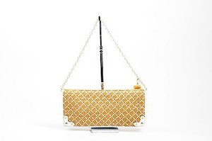 Eric Javits White Tan Diamond Beige Clutch