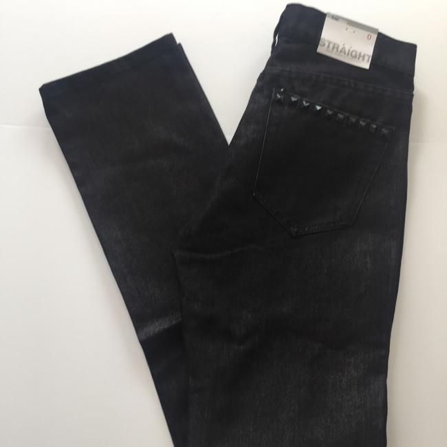 New York & Company Low Rise Studded Size 0 Straight Leg Jeans-Coated Image 1