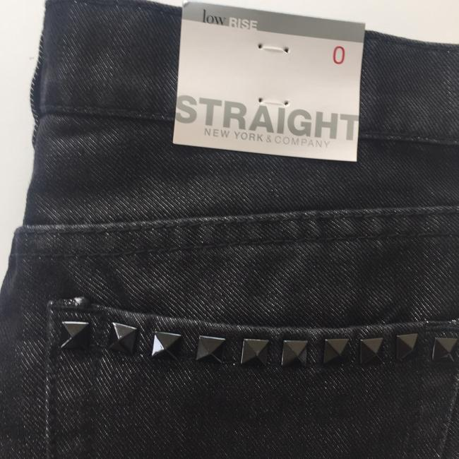 New York & Company Low Rise Studded Size 0 Straight Leg Jeans-Coated Image 2