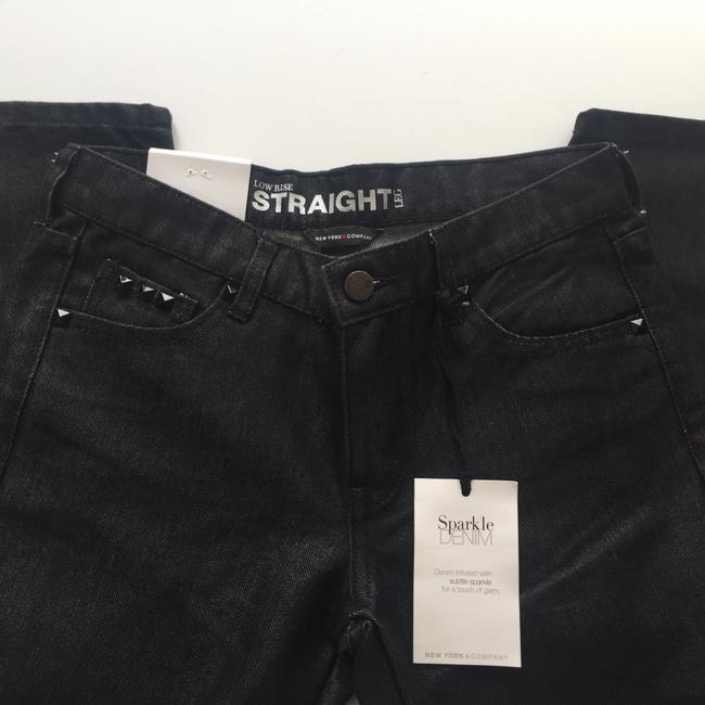 New York & Company Low Rise Studded Size 0 Straight Leg Jeans-Coated Image 4