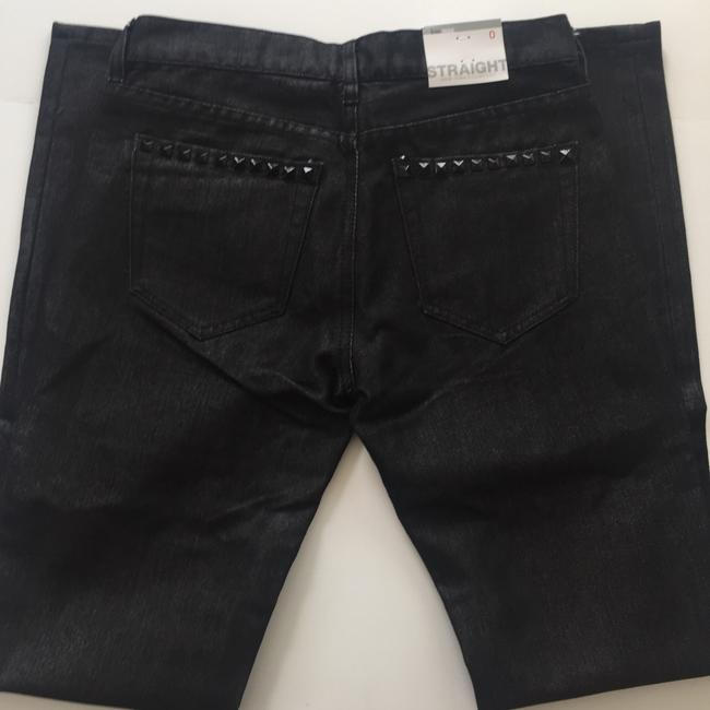 New York & Company Low Rise Studded Size 0 Straight Leg Jeans-Coated Image 6