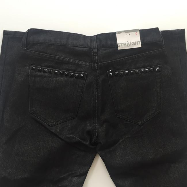 New York & Company Low Rise Studded Size 0 Straight Leg Jeans-Coated Image 7