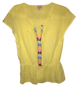 Ella Moss Exclusive Patchwork Embroidered Top Yellow