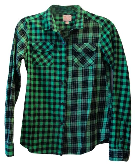 Uniqlo Button Down Shirt Green/ Black
