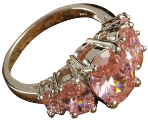 Other New Size 9, Shine Oval Cut Pink Topaz Gemstones Silver Ring