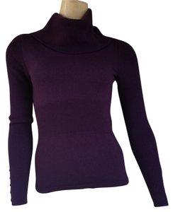 Marisa Christina Plum Eggplant Wool Merino Wool Turtleneck Sweater